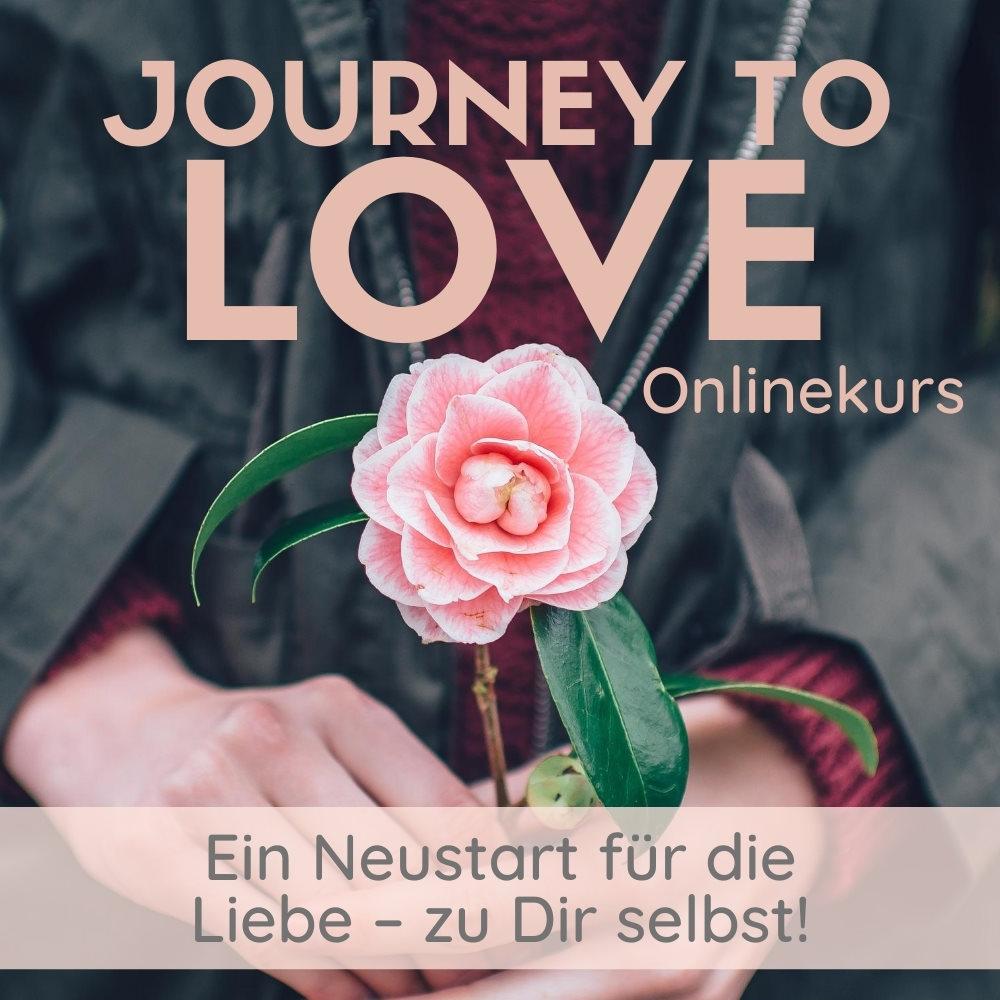 """Bildbeschreibung: Nahaufnahme einer rosa Rose, die vor einem Körper von einem weiblichen Paar Händen gehalten wird. Text im Bild: """"Journey To Love. Onlinekurs. Ein Neustart für die Liebe - zu Dir selbst!"""""""
